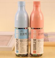 Wholesale Drifting bottle color crayons Children s doodling pen gift Creative stationery Water Color Pen Fancy Drawing set kids gifts