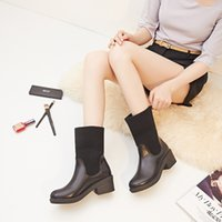 Wholesale 2 wearing winter casual pu leather woolen big size round toes middle heels platform slip on women half boots
