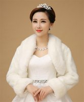Wholesale Free Size Bridal Wraps Faux Fur Winter Wedding Coats In Stock High Quality White Cape Top Sale Shawl Outwear Long Sleeves