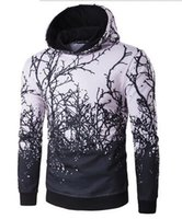 abstract hoodies - Fashion abstract withered tree branch prints men hoodie brand hoodies classic Hooded leisure sweater luxury sweat shirt