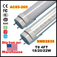 Wholesale CE ROHS FCC ft T8 Led Tube Lights High Bright W W W Warm Cold White foot g13 Fluorescent Tubes Bulbs AC110 V