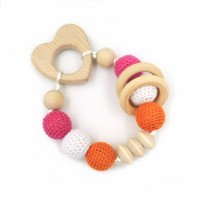 Wholesale Love Wooden Beads - 2016 Crochet Beads Wooden Beads with Beech Loving Heart Teether Baby Educational Gift New-born Toy I021-4