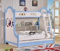 Wholesale 2pcs Set Classic MDF Panels Children Kids Youth Teenage Bunk Bed with Labber and Drawer