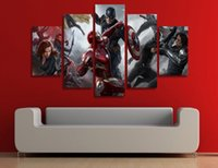 Wholesale 5 Panel HD Printed captain america civil war Painting Canvas Print room decor print poster picture canvas wall art paintings