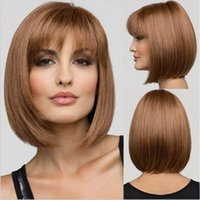 Wholesale 2016 Fashion Short straight Lady wigs Synthetic Wigs for Black Women soft hair wigs