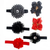 baby headbands with big flowers - Baby Headband and Hair Clip Set Red and Black Big Cotton Flower with Rhinestone Tulle Lace Nylon Headband Big Bow Hair Clip
