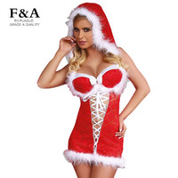 adult baby dress - Red Christmas Adults Costume Sexy Party Mini Dress With Feather Christmas Snow Baby Hooded Dress Costume Lace up Festival Dress