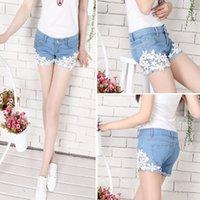 big cowgirl - Retro big hollow blue lace denim shorts cowgirl summer women new
