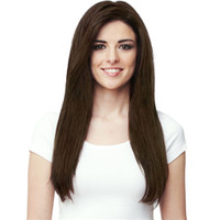 Wholesale Long Kinky Straight Hair Wig Full Side Bang Dark Brown Synthetic Wigs g Europe Fashion with Free Hair Net