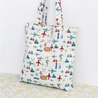 air bag lines - Air Battle Printing Double Layers Cotton Linen Shoulder Bag Shopping Bag Messenger Cloth Bag Pure Cotton Lining with or without Zipper