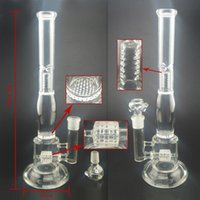 Wholesale 14 quot Inches Glass Water Bong Oil Rig Glass Bongs Recycler Fork Branch And Inline Perc Glass Smoking Accessories Bongs mm Joint