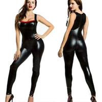 Wholesale New Black Wetlook Vinyl Leather Catsuit For Women Sleeveless Lingerie Leather Jumpsuit Sexy Night Club Party Bodysuit W7908