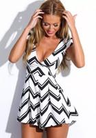 Wholesale 2016 New Summer Style Dress Women Fashion Black White Raised Grain Deep V Neck Vestidos Dress Sexy Sleeveless Mini Casual Dresses
