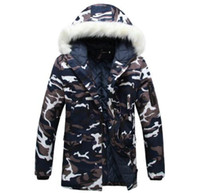 Wholesale Winter parka men Thicken Lovers wadded jacket Camouflage large fur collar cotton padded jacket outerwear men coats