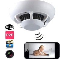 Wholesale Smoke Detector UFO WiFi IP Camera Remote Smoke Detector Hidden Spy Cam DVR Video Recorder P2P for iPhone ipad Android phone