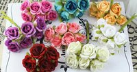Wholesale Silk Material Flowers - 2cm silk flowers small rose artificial flowers diy werath material wedding decoration flowers 8 colors ronde flowers can choose