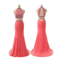 Wholesale Sexy Charming Two Pieces Prom Dresses Halter Backless Sweep Train Prom Dresses Long Chiffon With Beads Crystals Special Occasion Dresses