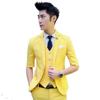Wholesale new summer casual yellow Single Breasted suit men casual half sleeves blazer wedding dress Jackets Pants vest