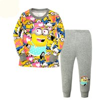 Wholesale 6 sets boys girls yellow Minions set children s clothing full pants shirts Pajamas Baby Kids Sleepwear cotton shirt suit Pijamas