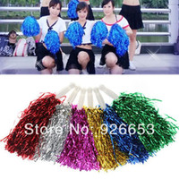 Wholesale 5Pcs Party Sport Metallic Cheer Dance Dress Cheerleader Pom Cheerleading Ball Multicolrs