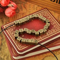 Wholesale Golden Color Copper Alloy Letter Charms Beads for Making Bracelets Necklaces Men Women Personal Unique Bead for Pandora Bracelet Wholese