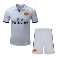 al por mayor clothes for man-Chándales nuevos ropa de jogging Real Madrid camisa blanca Camiseta de casa 2016 2017 camiseta tailandesa de calidad fútbol jerseys FC camisa de fútbol barata conjunto