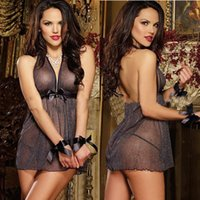 women sexy nighty - Sexy Gauze Nighty For Women Sexy Stretch Halter Backless Bow See Through Mini Babydoll Lingerie
