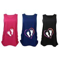 Wholesale New Arrivals Women s Pregnant Sleeveless Vest T shirt Maternity Shirt Little Feet Patterns Cotton Summer KD7