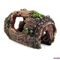 Wholesale shipping Hot Aquarium Fish Tank Resin Barrel Caves Ornament Furnishing Landscaping Decoration Shipping