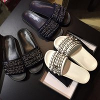 adhesive floor - high quingity luxury brand Women Slippers Indoor Sandals Fashion Chain Scuffs Black White Slide sandals women