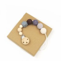 Wholesale New Arrival Eco Friendly Grey Crochet Wooden Beads New Born Baby Gift Pacifier Clip Dummy Holder Natural Geometric Beads P0805