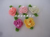 baby sweater crochet pattern - Diy handmade woven pattern child hair accessory Knitting flower baby hair bands hats flower sweater corsage Crochet flowers