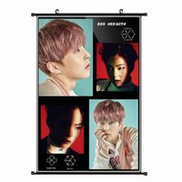 Wholesale Youpop KPOP EXO Album K M EX ACT Monster Lucky One XIUMIN Non woven Poster Wall Hanging Painting Wall Picture Flip Chart