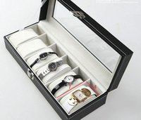 Wholesale 6 Grid Luxury Watches Boxes Packaging Windowed cajas para Relojes Storage Fashion Gift Box to hours
