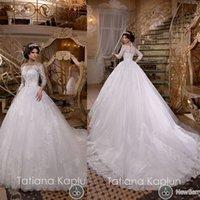 Wholesale Lace Wedding Dresses Off the Shoulder Long Transparent Sleeve Lace Appliques Ball Gown Court Train Bridal Dresses Vestidos de Noiva