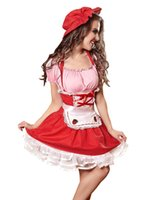 al por mayor de encaje delantal rojo-Sweet French Maid Cosplay Mujer Red Sexy Lace-up Delantal Bubble Skirt Señoras Navidad Halloween Partido Fancy Dress Anime Tema Disfraces