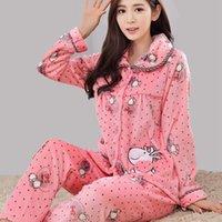 Wholesale Fashion Maternity Pajama Set Feeding Homewear Autumn Winter Long Sleeve Sleepwear Lovely Cartoon Nursing Clothing RB0056