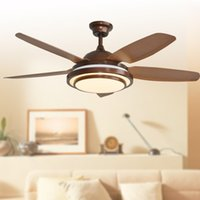 Wholesale led ceiling fans lights Classic style inches cm coffee red five blade ABS fans remote control indoor led ceiling fans V V