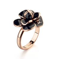 Wholesale NEW Arrival K Rose Gold Plated C Camellia Flower Design Finger Ring Women Party Cluster Rings