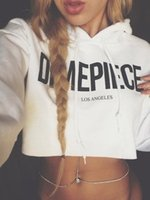 Wholesale 2016081312 Fashion Women Long Sleeve Tops Hooded Casual Womens Letter Pullover Sweatshirt Crop Sexy Hoodie Coat Outerwear Tops