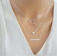 Wholesale 925 Sterling Silver Layered Necklace Set Silver Bar Necklace Jewelry For Women Charm Necklace