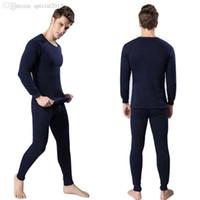 Wholesale Men Cotton Thermal Underwear Set Winter Warm Thicken Long Johns Tops Bottom Colors VEW