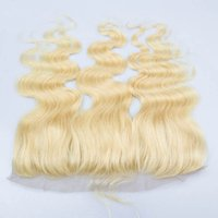 Cheap 613 Blonde Lace Frontal 13*4 Lace Closure Body Wave Brazilian Human Hair 613 Platinum Blonde Human Hair Lace Frontal Bleached Knots