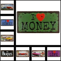 Wholesale Nostalgic Metal Tin Sign Posters Vintage Style Wall Ornament Coffee Decor x cm x inches