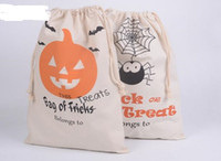 bag or sack - Cotton Canvas Halloween Sack Children favor Candy cloth Gift Bag Pumpkin Spider ghost treat or trick Drawstring Bags Party festive Cos props