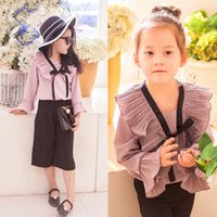 Wholesale Fashion Girls Tops Blouses Children Clothes Kids Clothing Autumn Ruffle Long Sleeve T Shirts Korean Girl Dress Child Shirt Ciao C26852