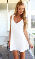 Wholesale Summer cool sexy nightclub explosion models of foreign trade elegant chiffon halter deep V neck sleeveless harness dress