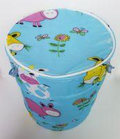 Wholesale D38 H45CM Folding Cotton Textile Printing Laundry Basket Waterproof Cotton Storage Basket Floral Laundry Basket Toy Storage Barrels