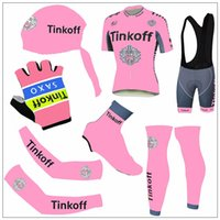bank headband - 2016 Top Quality Tinkoff SAXO Bank Cycling Jersey Set Short Sleeve Pink Clothing With Arm Leg Shoes Cover Headband Gloves