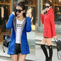 Wholesale 5 Colors Long Casual Spring Autumn Women Coat Causal Fashion Red Green Blue velvet Slim Long Sleeve Pullovers Hoodies Sweater